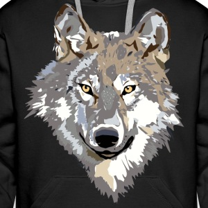wolf face Sweat-shirts - Sweat-shirt à capuche Premium pour hommes