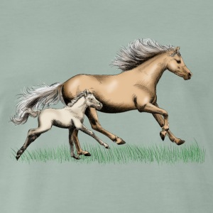 Mare with foal T-shirts - Herre premium T-shirt