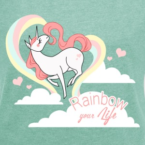 Heather mint rainbow your life T-Shirts - Women's T-shirt with rolled up sleeves