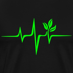 Pulse green, vegan heartbeat frequency, save earth T-shirts - Mannen Premium T-shirt