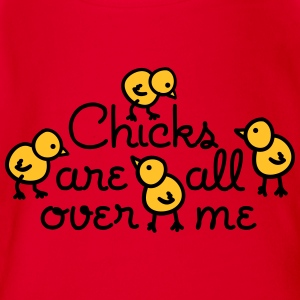 Chicks are all over me Babybody - Økologisk kortermet baby-body