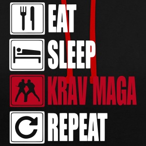 Eat-Sleep-KravMaga-Repeat Hoodies & Sweatshirts - Contrast Colour Hoodie