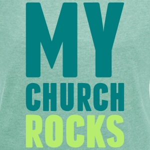 my church rocks 3 farb T-Shirts - Frauen T-Shirt mit gerollten Ärmeln