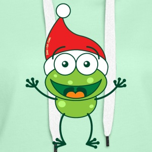 Christmas frog wearing Santa hat Hoodies & Sweatshirts - Women's Premium Hoodie