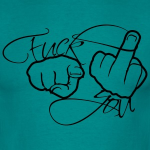2 hands hand logo glove stinkfinger middle finger  T-Shirts - Men's T-Shirt