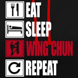 Eat-Sleep-WingChun-Repeat Pullover & Hoodies - Kontrast-Hoodie