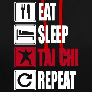Eat-Sleep-Tai Chi-Repeat Hoodies & Sweatshirts - Contrast Colour Hoodie