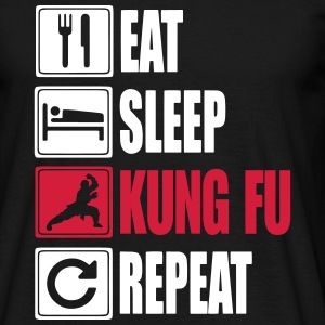 Eat-Sleep-Kung Fu-Repeat T-shirts - Herre-T-shirt