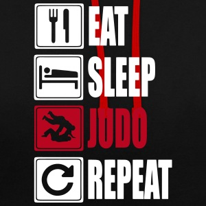 Eat-Sleep-Judo-Repeat Bluzy - Bluza z kapturem z kontrastowymi elementami