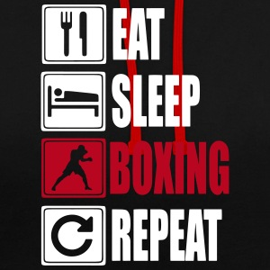 Eat-Sleep-Boxing-Repeat Hoodies & Sweatshirts - Contrast Colour Hoodie