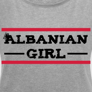 albanian_girl_with_eagle T-Shirts - Frauen T-Shirt mit gerollten Ärmeln