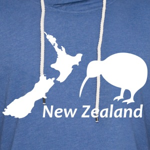 New Zealand - Map & Kiwi Bird white (Leichtes Kapu - Leichtes Kapuzensweatshirt Unisex
