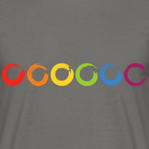 6 gemalte Kreise aus farbigen Pinselstrichen