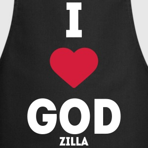 i heart god godzilla I love love sayings  Aprons - Cooking Apron
