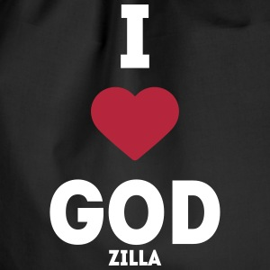 i heart god godzilla I love love sayings Bags & Backpacks - Drawstring Bag