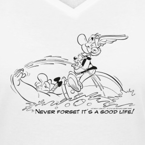 Asterix & Obelix - Never Forget... B/W - Women's V-Neck T-Shirt