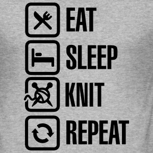 Eat Sleep Knit Repeat Tee shirts - Tee shirt près du corps Homme
