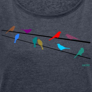 Birdsonwire Tshirt Ladies Blue - Women's T-shirt with rolled up sleeves