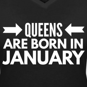 Queens are born in January T-shirts - Dame-T-shirt med V-udskæring