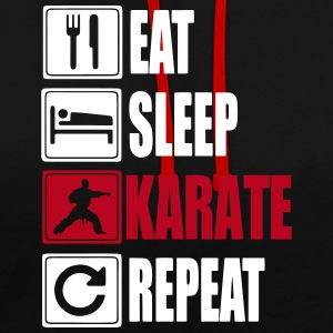 Eat Sleep Karate Repeat Pullover & Hoodies - Kontrast-Hoodie
