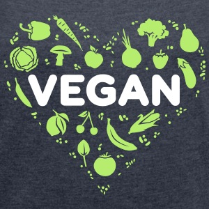 Vegan heart - Women's T-shirt with rolled up sleeves