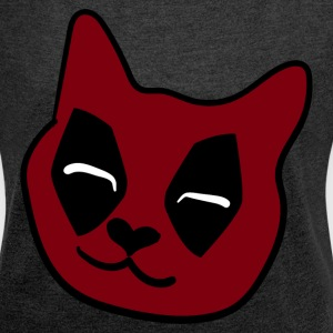 DEADPOOL CAT T-Shirts - Frauen T-Shirt mit gerollten Ärmeln