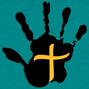 Cross handprint jesus logo symbol design christ fa T-Shirts - Men's T-Shirt