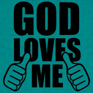 God god jesus loves me hands showing comic cartoon T-Shirts - Men's T-Shirt