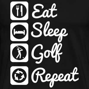 Eat,sleep,golf,repeat - Golf t-shirt  - Mannen Premium T-shirt