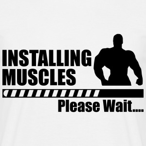 Installing muscles - Funny gym crossfit sport  - Herre-T-shirt