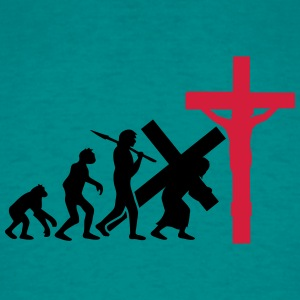 Evolution, man, jesus, christ, faith, cross, cruci T-Shirts - Men's T-Shirt