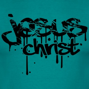 Christ, blood, scratch, crack, graffiti, drops, ta T-Shirts - Men's T-Shirt