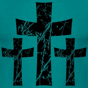 3 crosses pattern tears scratch old text jesus chr T-Shirts - Men's T-Shirt