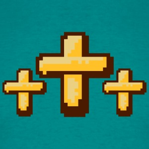 3 crosses cool pixel gamer retro 8 bit pattern chr T-Shirts - Men's T-Shirt
