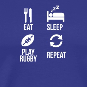Rugby Shirt Eat Sleep play Rugby Repeat - Männer Premium T-Shirt