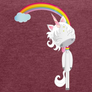Unicorn hangs on the rainbow T-Shirts - Women's T-shirt with rolled up sleeves