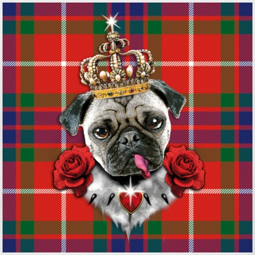 Mops Pug the King Roses schottisches Muster Tartan