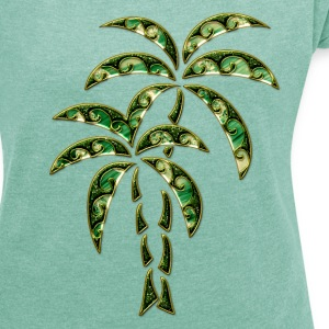 Palm Tree / Tattoo Style / DD / T-shirts - Dame T-shirt med rulleærmer