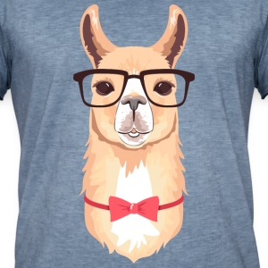 Funny Hipster Llama  | Bow Tie | Glasses  T-Shirts - Männer Vintage T-Shirt