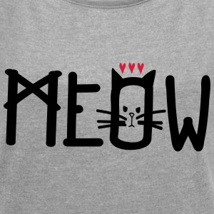 MEOW TYPO WITH CAT2 Women's T-shirt with rolled  - Women's T-shirt with rolled up sleeves