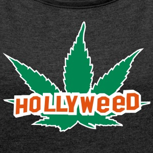 HOLLYWEED pot T-Shirts - Frauen T-Shirt mit gerollten Ärmeln
