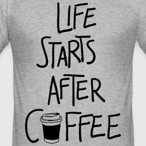 Life starts after coffee. - Männer Slim Fit T-Shirt