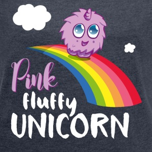 Pink fluffy Unicorn T-Shirts - Women's T-shirt with rolled up sleeves