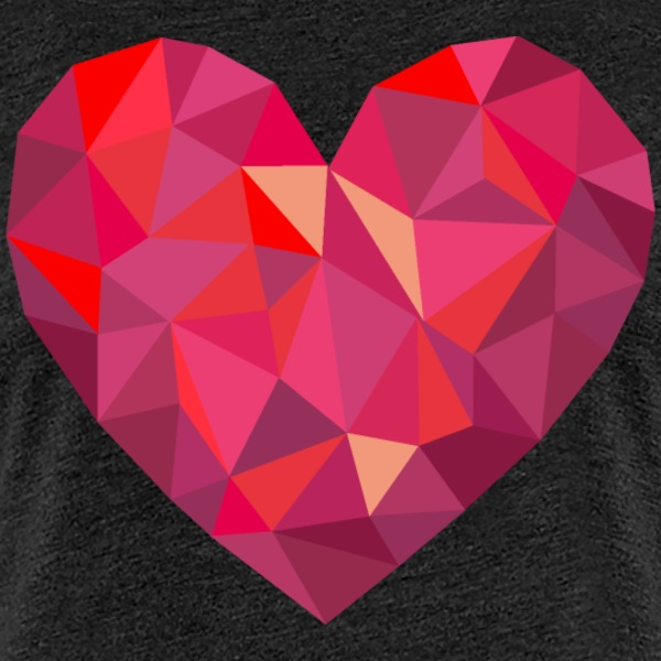 Valentine's Day Geometric Low Poly Heart - Dame premium T-shirt