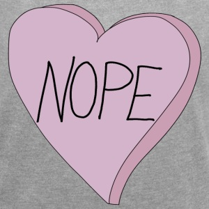 Valentine's Day Nope Heart Single Humour - Dame T-shirt med rulleærmer