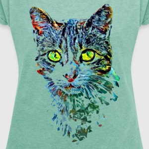 colorful cat T-Shirts - Frauen T-Shirt mit gerollten Ärmeln