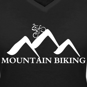 Mountain Bike-blanc Tee shirts - T-shirt col V Femme