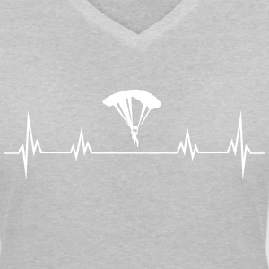 Heartbeat paragliding T-shirts - Vrouwen T-shirt met V-hals