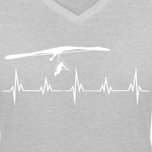 Heartbeat hang-glider T-Shirts - Women's V-Neck T-Shirt