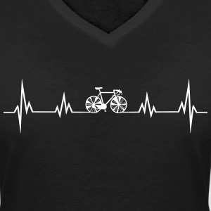 Heartbeat bike2 T-Shirts - Women's V-Neck T-Shirt